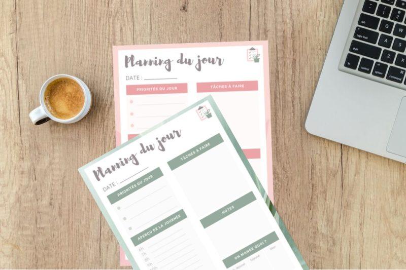 Boite outils de l'orga - Planning du jour à télécharger et à compléter pour mieux s'organiser au quotidien
